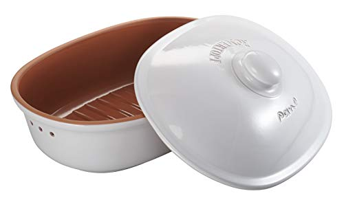 Römertopf Brottopf Keramik Brotkorb oval weiß 40 x 28 x 20 cm