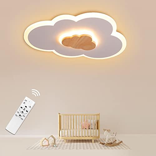 LED Deckenleuchte, Wolken Deckenlampe Holz dimmbar 3000K-6000K, 400mm 20W Wolkenlampe, Modern LED...