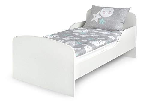 Leomark Kinderbett 140x70 Funktionsbett Einzelbett mit Matratze Motiv: weiß Sehr Einfache Montage