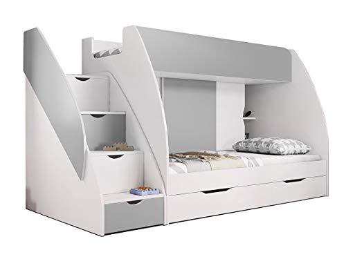 Idzczak Meble Hochbett Martin, Modern Kinderzimmer Etagenbett, Doppelstockbett mit Bettkasten, Schublade,...