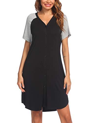 Nachthemd Damen Kurzarm Schlafshirt Nachtkleid Stillnachthemd Schwangerschaft umstandsnachthemd Nachtwäsche...