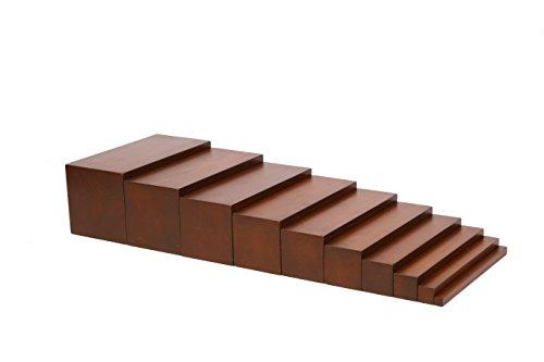 edu fun 91101 Montessori Holz Treppe braun pädagögisches Lernspielzeug für Kinder ab 3 Jahren 10 längliche...