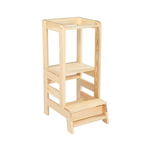 Angelove Lernturm für Kinder Learning Tower Schemel aus Holz Helferturm Küchenhelfer Lernstuhl Montessori...