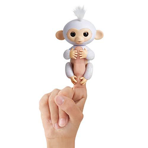 Fingerlings Glitzer Äffchen weiß Sugar 3763 interaktives Spielzeug, reagiert auf Geräusche, Bewegungen und...
