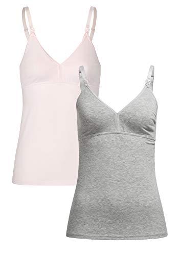 Herzmutter Stilltop-Stillshirt-Unterhemd für Damen - einfache Stillfunktion - integriertes Bustier-BH mit...
