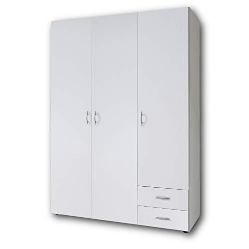 Stella Trading Base 3-türiger Kleiderschrank, Holz, weiß, 52 x 120 x 177 cm