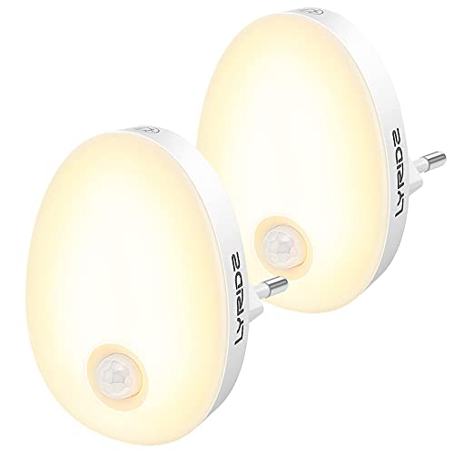 LYRIDZ Nachtlicht Steckdose mit Bewegungsmelder, strahlend hell 1-120LM Plug-in Nachtlicht dimmbar, Smart...
