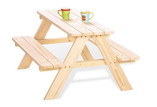 Pinolino Kindersitzgarnitur Nicki für 4, aus massivem Holz, 2 Bänke mit 1 Tisch, empfohlen für Kinder ab 2...