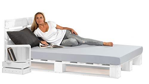 sunnypillow 180x200 cm Palettenbett mit Kopfteil Weiß Massivholzbett Bett aus Paletten Palettenmöbel Fichte...