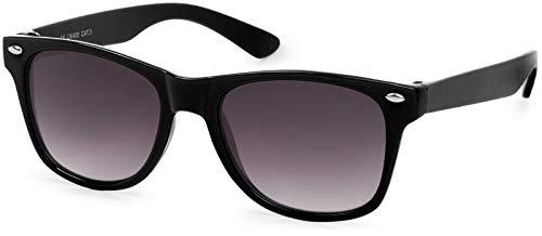 styleBREAKER Kinder Sonnenbrille, klassiches Retro, Nerd Design 09020056, Farbe:Gestell Schwarz/Glas Grau...