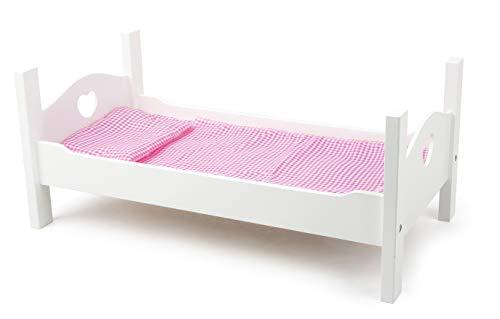 Small Foot 11212 Puppenbett aus weißem Holz, inkl. niedlicher Wäsche, Rollenspielzeug Spielzeug, Mehrfarbig
