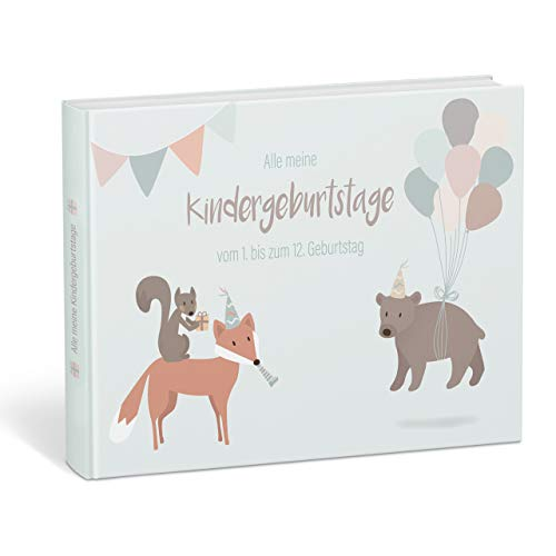 """Mintkind® """"Alle meine Kindergeburtstage"""" Erinnerungsalbum vom 1. bis zum 12. Geburtstag – Fotoalbum zum..."""