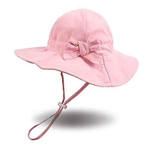 Pesaat Baby Sonnenhut Mädchen Sommermützen UV-Schutz mit Schleife Kinder Sommerhut Baby Mädchen Mütze...