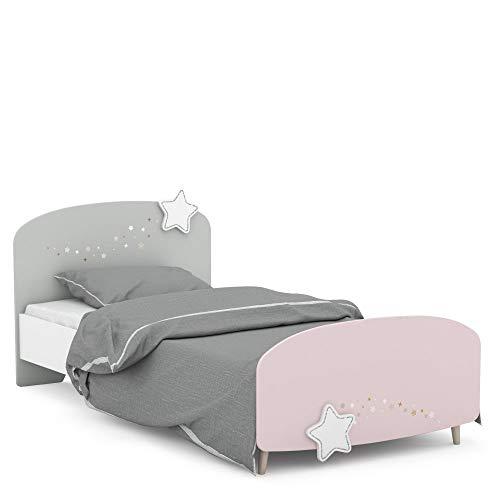 Kinderbett Sternschnuppe 90 * 200 cm rosa weiß grau Mädchen Prinzessin Kinderzimmer Holz Liege Einzel...