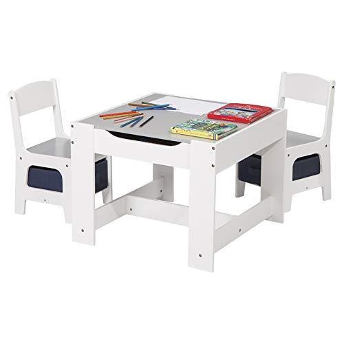 eSituro Kindertisch mit 2 Stühle mit Stauraum, Maltisch Kindersitzgruppe 3 Teilige Kindersitzgarnitur Tisch...