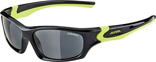 ALPINA Unisex - Kinder, FLEXXY TEEN Sonnenbrille, black-neon yellow gloss, One size