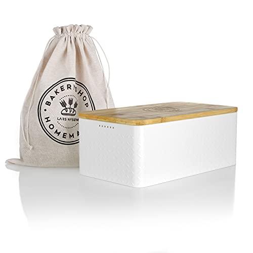 LARS NYSØM Brotkasten I Brotbox aus Metall mit Brotsack aus Leinen für langanhaltende Frische I Brotdose mit...