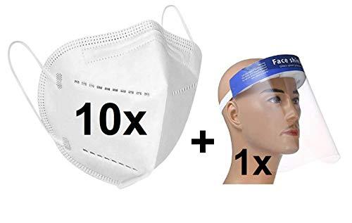 10x Atemschutz Maske mit eingenährem Nasenclip Mund + 1x Faceshield. Schutzmaske mit Filterleistung 95%