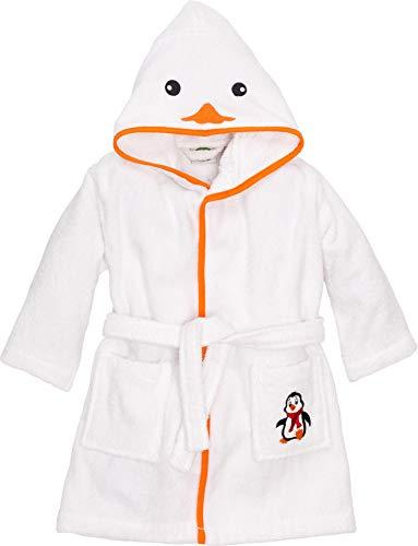 Smithy Bademantel Kinder, Motiv Pinguin für Jungen und Mädchen, Farbe weiß, Gr. 86/92