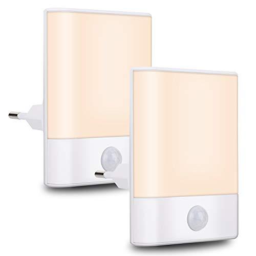 Nachtlicht Steckdose mit Bewegungsmelder, Brisun 2 Stück Nachtlicht 3 Modi (Auto/ON/OFF), Energiesparendes...