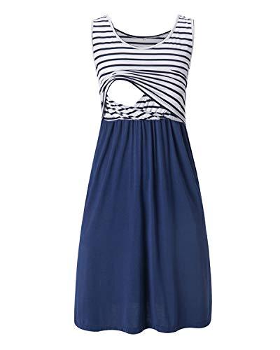 Love2Mi Damen Umstandskleid Streifen Stillkleid Ärmellos Schwangere Sommerkleid-Weißer Streifen /...