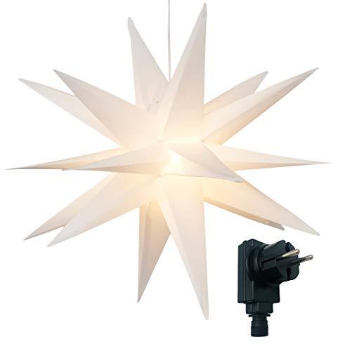 3D Leuchtstern inkl. warm-weißer LED Beleuchtung | für Innen und Außen geeignet | hängend | 7,5 m...