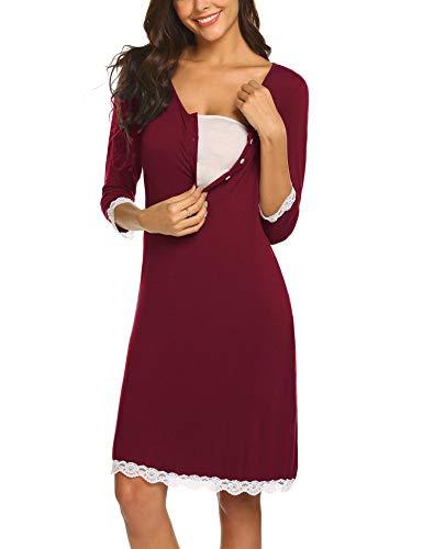 MAXMODA Umstandsmode Damen Stillnachthemd Stillkleid Umstandskleidung Nachthemd