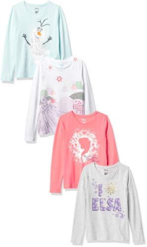 Spotted Zebra Disney Star Wars Marvel Princess Long-Sleeve Fashion-t-Shirts, 4er-Pack Frozen ELSA & Olaf, 4...