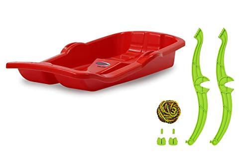 Jamara 460364 - Snow Play Bob Karol mit Bremse 80cm rot - Lenkung durch Ziehen der jeweiligen Handbremse, Seil...