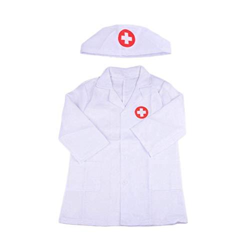 Kinder Arztkittel Laborkittel + Kappe Mädchen Jungen Arzt-Set Spielzeug Zubehör Rollenspiel Kostüm...