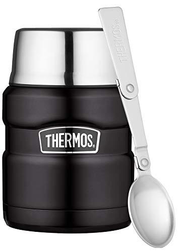 THERMOS Thermobehälter für Essen groß Lunchpot Stainless King, Edelstahl schwarz 470ml, Speisegefäß für...