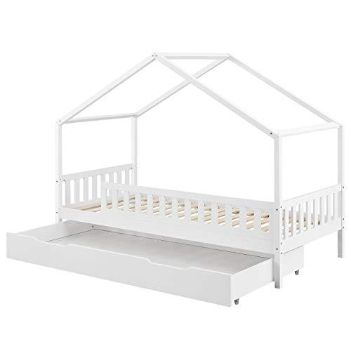 Juskys Kinderbett Yuki 90x200 cm mit Rausfallschutz, Bettkasten & Lattenrost – Holz Bett für Kinder weiß...