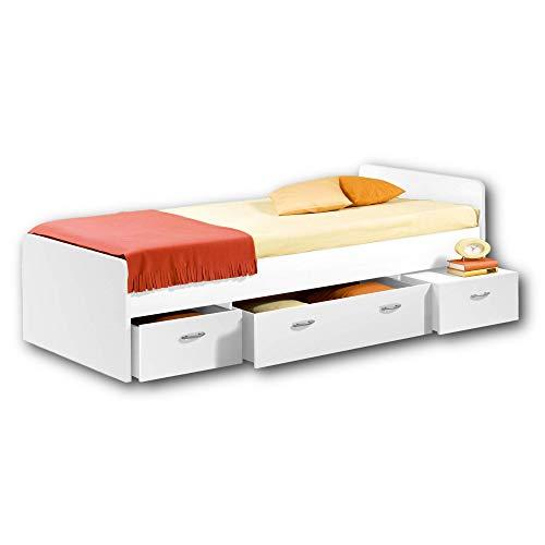 BORO Modernes Einzelbett mit 3x Schubkästen 90 x 200 cm - Praktisches Jugendzimmer Kojenbett in Weiß - 95 x...