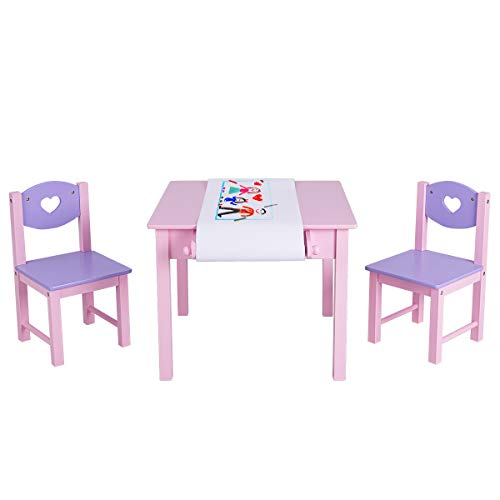 COSTWAY Sitzgruppe Kinder, 3tlg. Kindersitzgruppe, Kindermöbel aus Holz, Kindertisch mit 2 Kinderstühlen,...