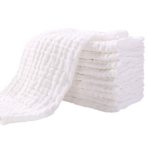 Mullwindeln Spucktücher 10er Stoffwindeln 30x49 cm Mulltücher Saugstark Waschlappen Baumwolle Faltwindeln...