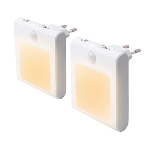 2 Stück LED Nachtlicht Steckdose mit Bewegungsmelder, Steckdosenlicht Helligkeit Stufenlos Einstellbar...