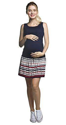 Torelle Damen Sommerkleid Umstandskleid Tunika Stillkleid, Modell: ELMA, dunkelblau-rot-Weiss, S