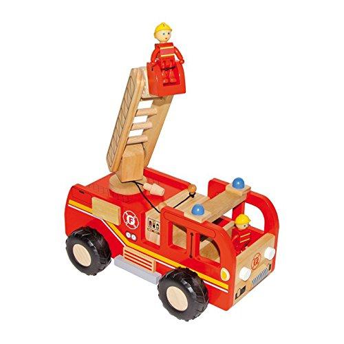 small foot 8509 Feuerwehrauto aus Holz, mit Drehleiter und Förderkorb, inkl. 2 Feuerwehrmann-Figuren, ab 3...