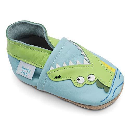 Dotty Fish Weiche Baby und Kleinkind Lederschuhe. Jungen. Blauer Schuh mit grünem Krokodil. 0-6 Monate (17...