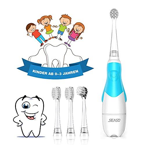Elektrische Zahnbürste Kinder ab 1 2 3 jahren, Seago Timer Baby Zahnbürste mit LED Lampe Batterie...