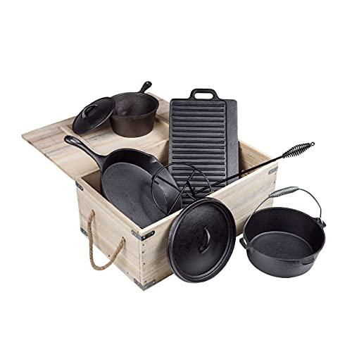 Dutch Oven Set mit Holzkiste - Gusseisen Topf Set 9-teilig, bereits eingebrannt - Feuertopf Gusstopf Dutch...
