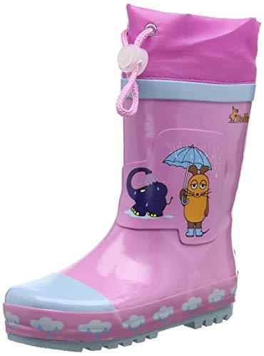Playshoes Kinder Gummistiefel aus Naturkautschuk, trendige Unisex Regenstiefel mit Reflektoren, Pink, 24/25 EU