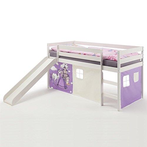IDIMEX Spielbett Rutschbett Hochbett Benny, mit Rutsche in Kiefer massiv weiß, Vorhang in lila mit...
