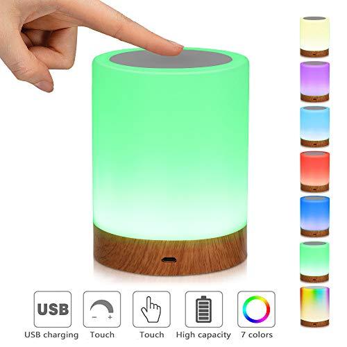 LED-Nachtlicht,Nachttischlampe Stimmungslicht,Smart Touch Control Nachtlicht,RGB Farbwechsel-Modi Dimmbar...