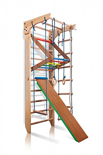 Turnwand Gym Klettergerüst Kinder-3-240-Farbe Sportgerät, Kletterwand, Holz, Turnwand, Sprossenwand