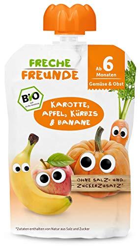 FRECHE FREUNDE Bio Beikost-Quetschie Karotte, Apfel, Kürbis & Banane, Babynahrung ab dem 6. Monat mit...