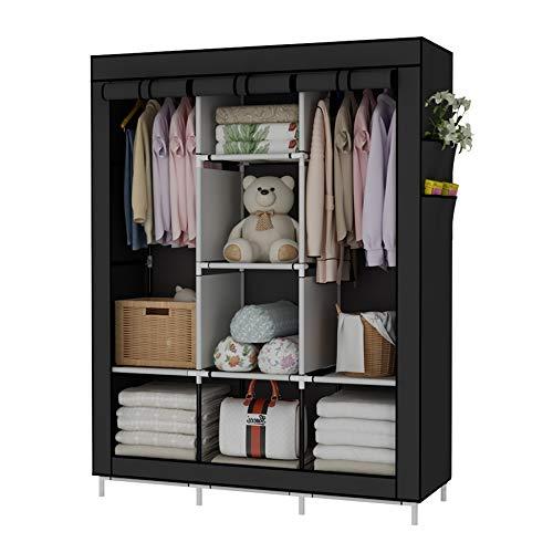 UDEAR Einfach Kleiderschrank aus Stoff Faltschrank Stoffschrank Bedroom Wardrobes Schwarz