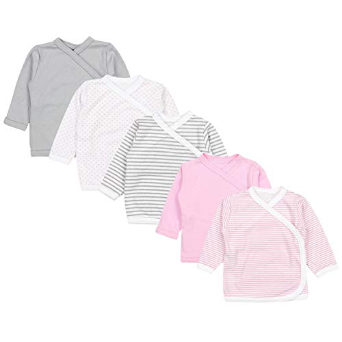 TupTam Unisex Baby Langarm Wickelshirt 5er Set, Farbe: Mädchen 4, Größe: 68