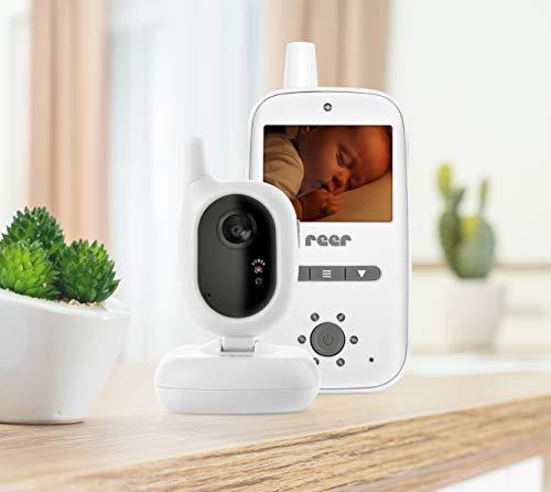 reer 80420 BabyCam Video Babyphone, 300 m Reichweite, 50 Grad Weitwinkel-Kamera, 2,4' TFT Display, weiß