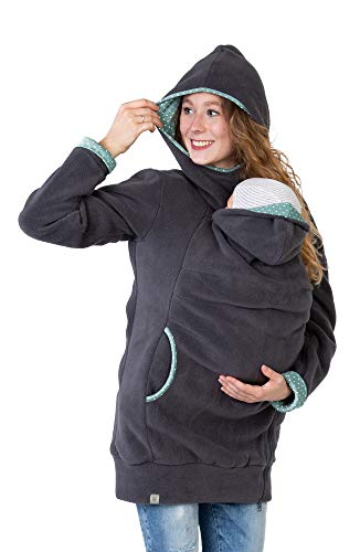 Viva la Mama Umstandsmode Fleecetragejacke Jacke Mama Baby tragen Jacke mit Einsatz warm Tragehoodie...
